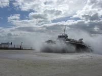 Hoverwork British Hovercraft Technology BHT-130 - Spray-covered arrival at Southsea (James Rowson).